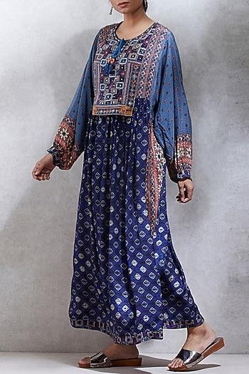 Indigo Blue Embroidered & Printed Kurta by Ritu Kumar