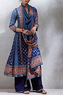 Indigo Blue Embroidered & Printed Kurta Set by Ritu Kumar