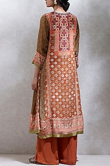 Rust & Olive Green Embroidered Printed Kurta Set by Ritu Kumar