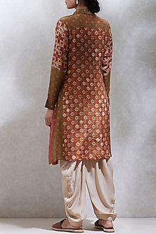 Rust & Olive Green Printed Kurta by Ritu Kumar