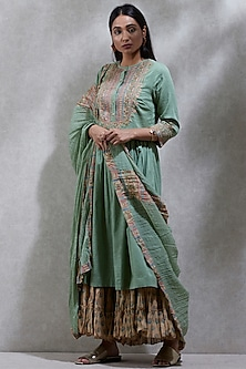 Mint Green Printed Sharara Set by Ritu Kumar