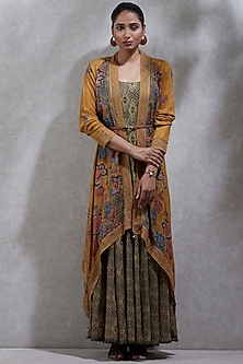 Mustard Yellow Kurta With Printed Cape by Ritu Kumar