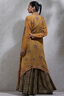 Mustard Yellow Kurta With Printed Cape by Ritu Kumar