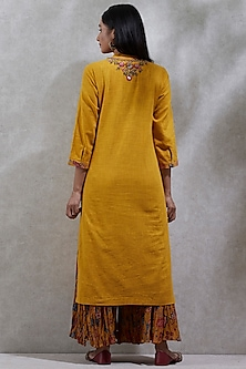 Mango Yellow Printed Kurta Set by Ritu Kumar