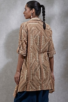 Beige Embroidered Shirt Kurta by Ritu Kumar