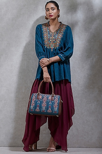 Blue Embroidered Short Kurta by Ritu Kumar