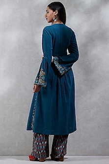 Blue Embroidered & Printed Kurta Set by Ritu Kumar