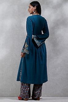 Blue Embroidered & Printed Kurta Set by Ritu Kumar