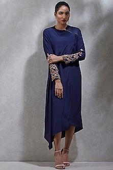 Navy Blue Embroidered Asymmetric Kurta by Ritu Kumar