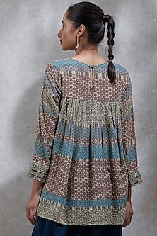 Green Printed Tiered Kurta by Ritu Kumar