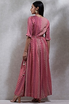 Pink Printed Wrap Kurta With Inner by Ritu Kumar
