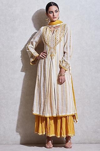 Ecru White Embroidered Sharara Set by Ritu Kumar