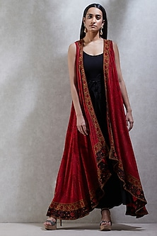 Brick Red Sleeveless Cape With Black Inner & Palazzo Pants by Ritu Kumar