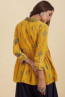 Yellow Flared Kurta by Ritu Kumar