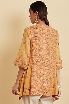 Mango Yellow Printed & Embroidered Kurta by Ritu Kumar