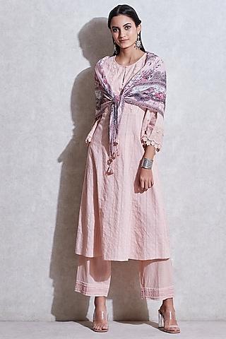 Garnish Pink Long Kurta Set by Ritu Kumar