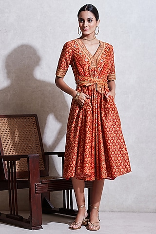 Rust Orange & Beige Floral Kurta by Ritu Kumar