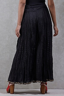 Black Flared Palazzo Pants by Ritu Kumar