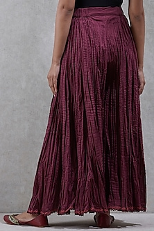 Burgundy Flared Palazzo Pants by Ritu Kumar