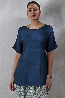 Navy Blue Short Kurta by Ritu Kumar