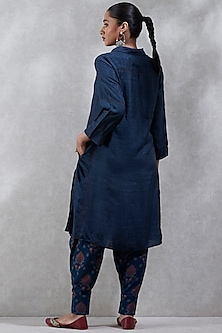 Navy Blue Wing Collared Kurta by Ritu Kumar
