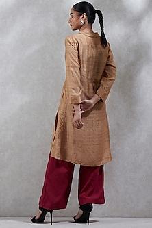 Beige Wing Collared Kurta by Ritu Kumar