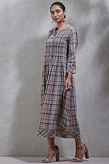 Grey Checkered Long Kurta by Ritu Kumar