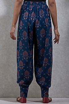 Navy Blue Printed Dhoti Pants by Ritu Kumar
