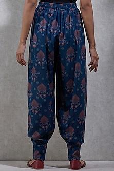Navy Blue Printed Dhoti Pants by Ritu Kumar
