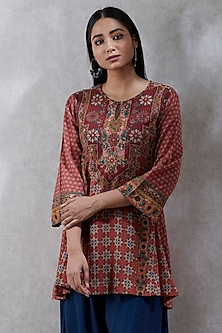 Terracotta Short Kurta by Ritu Kumar