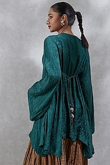 Green Embroidered Asymmetric Kurta by Ritu Kumar