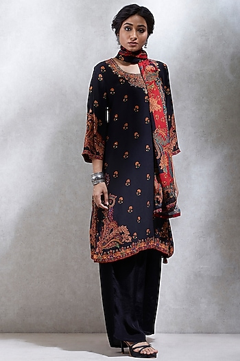 Black & Red Embroidered Printed Kurta Set by Ritu Kumar
