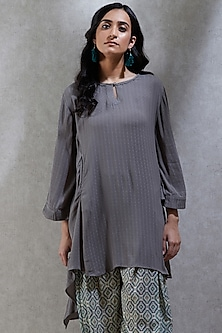Grey Asymmetric Kurta With Camisole by Ritu Kumar