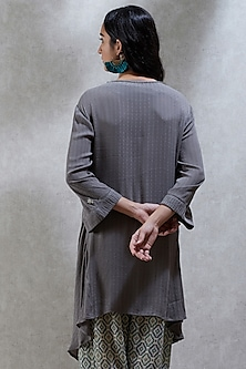 Grey Asymmetric Kurta by Ritu Kumar