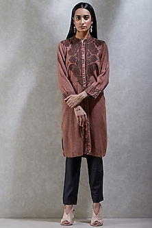 Brick Brown Embroidered Shirt Kurta by Ritu Kumar