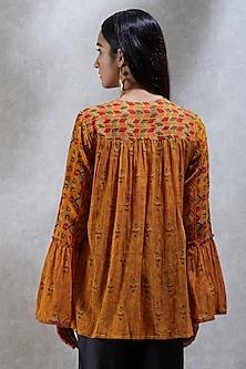 Mustard Yellow Printed Kurta by Ritu Kumar