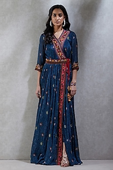 Navy Blue Embroidered Maxi Dress by Ritu Kumar