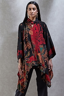Black & Red Printed Kurta by Ritu Kumar