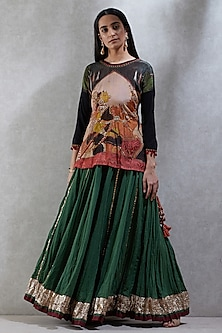 Black Embroidered Top With Green Skirt by Ritu Kumar