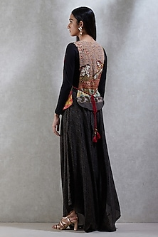 Multi Colored Embroidered Jacket With Black Top & Pants by Ritu Kumar