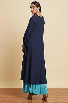 Indigo Blue Kurta With Turquoise Sharara Pants by Ritu Kumar