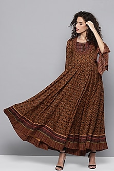 Terracotta Brown Printed Anarkali Kurta by Ritu Kumar