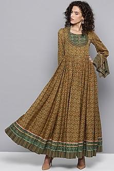 Sap Green Printed Anarkali Kurta by Ritu Kumar