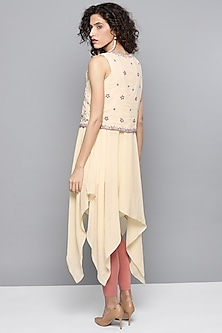 Ecru Asymmetric Kurta With Embroidered Jacket by Ritu Kumar