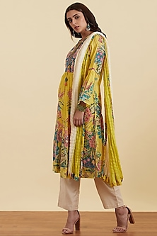 Yellow Floral Printed Kurta Set by Ritu Kumar