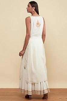 Ecru Embroidered & Printed Kurta With Skirt by Ritu Kumar