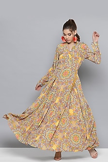 Lemon Yellow Printed A-Line Kurta by Ritu Kumar