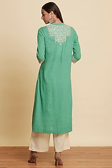 Green Embroidered Kurta Set by Ritu Kumar