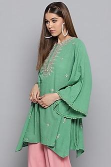 Green Embroidered Asymmetric Kurta by Ritu Kumar