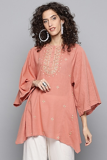 Old Rose Pink Embroidered Kurta by Ritu Kumar